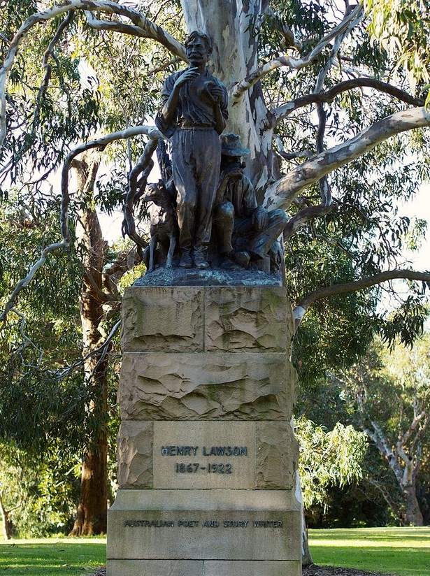 A bronze statue located in The Domain in Sydney in honour of Henry Lawson