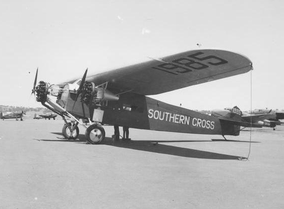 A picture of Kingsford Smiths plane , The Southern Cross on the ground at Brisbane