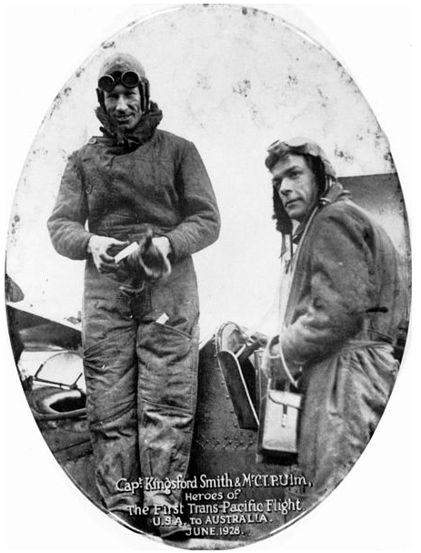 Smith and Ulm In Commemorative Trans-Pacific Photo