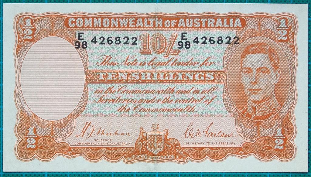 Image of an Australian Ten Shillings paper banknote