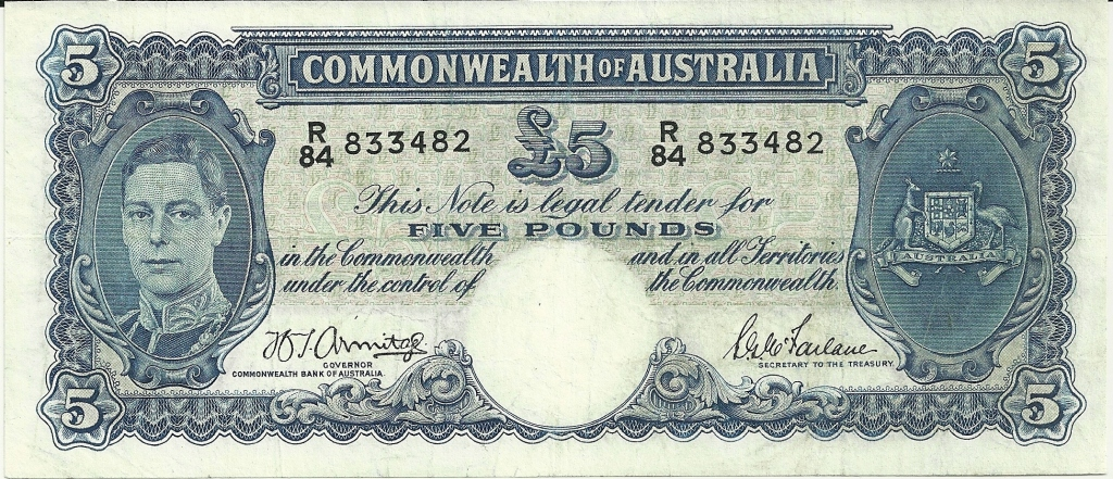 Image of an Australian Five Pounds paper banknote