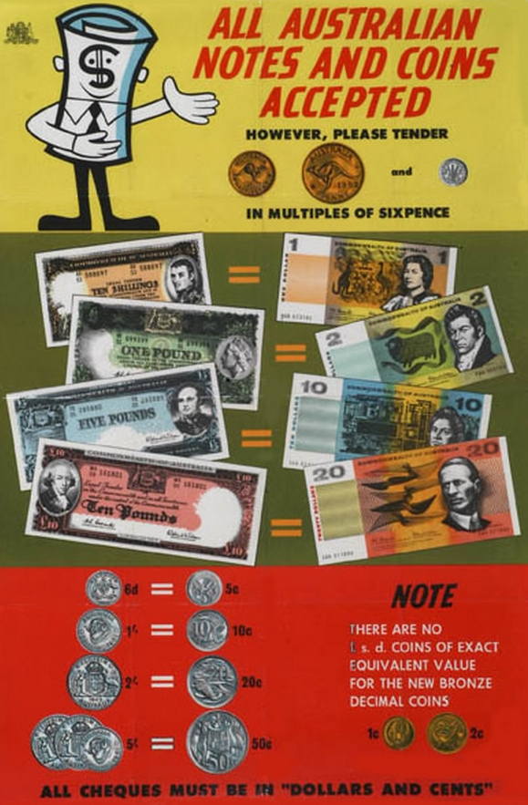 A poster issued to show people the new currency values