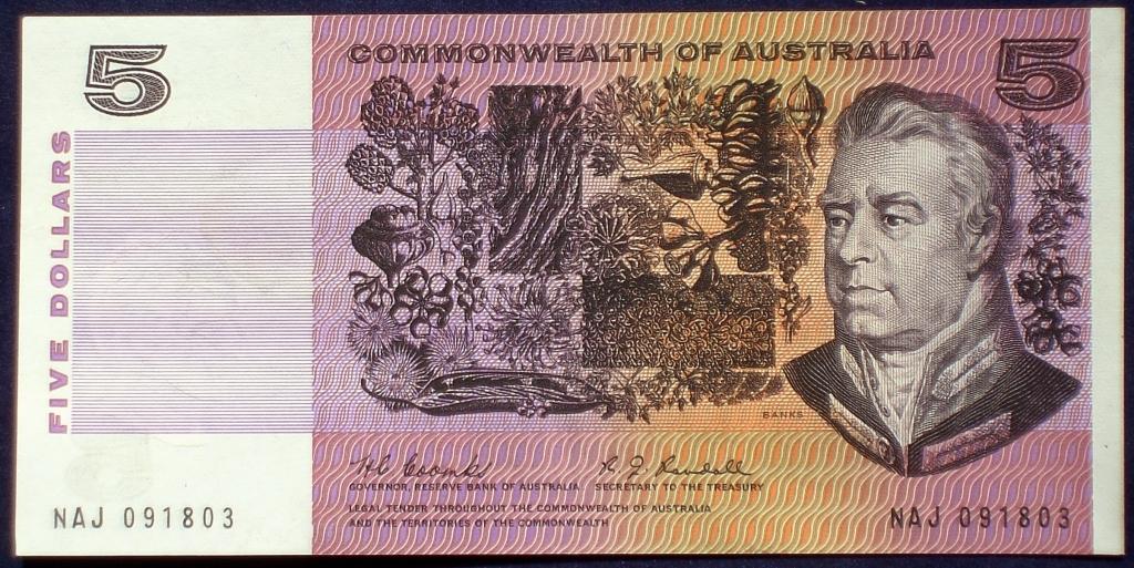 Image of an Australian Five Dollars paper banknote
