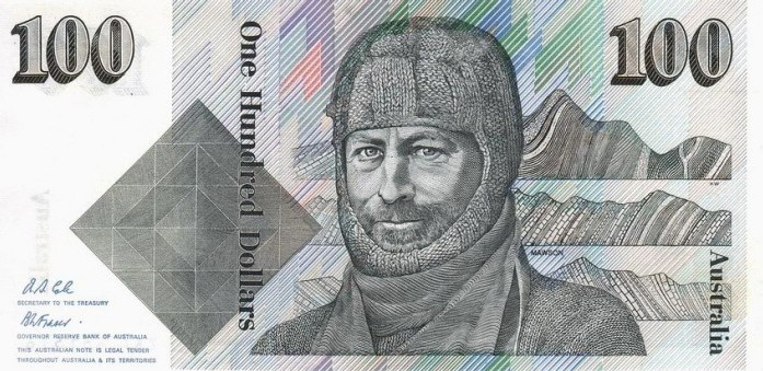 Image of an Australian One Hundred Dollars paper banknote