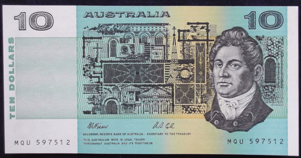 Image of an Australian Ten Dollars paper banknote