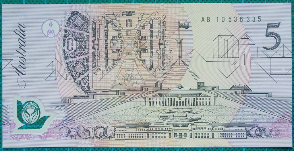 Image of an Australian Five Dollars polymer banknote