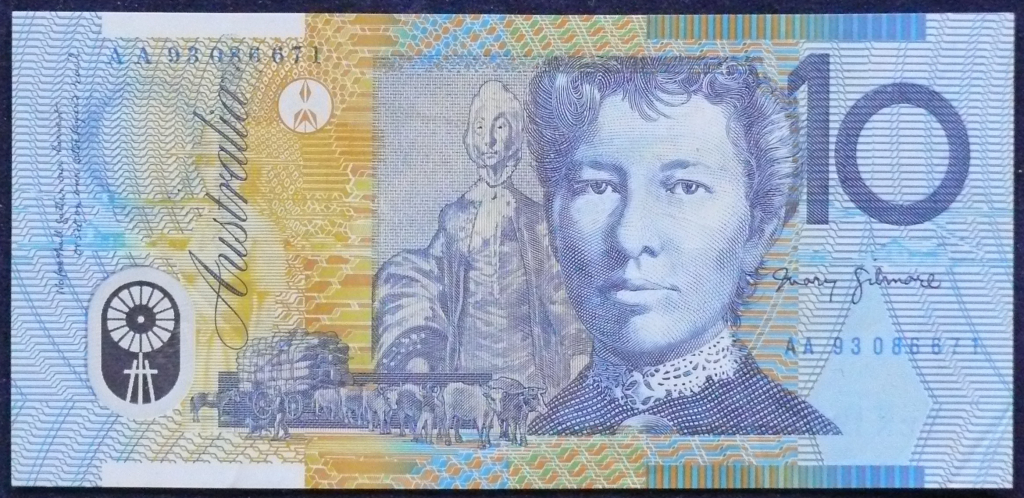 Image of an Australian Ten Dollars polymer banknote
