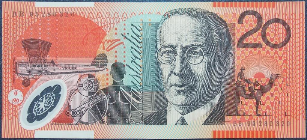 Image of an Australian Twenty Dollars polymer banknote