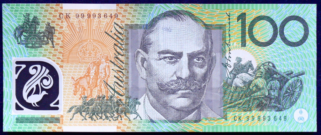 Image of an Australian One Hundred Dollars polymer banknote