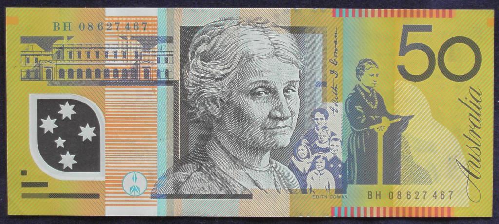 An Australian Fifty Dollars polymer bank note