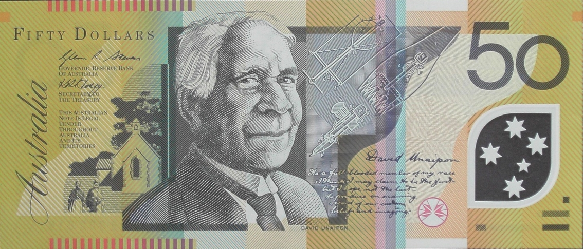 David Unaipon as he appears on the $50 bank note