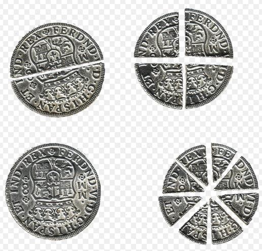 Spanish dollars cut into various denominations of worth.