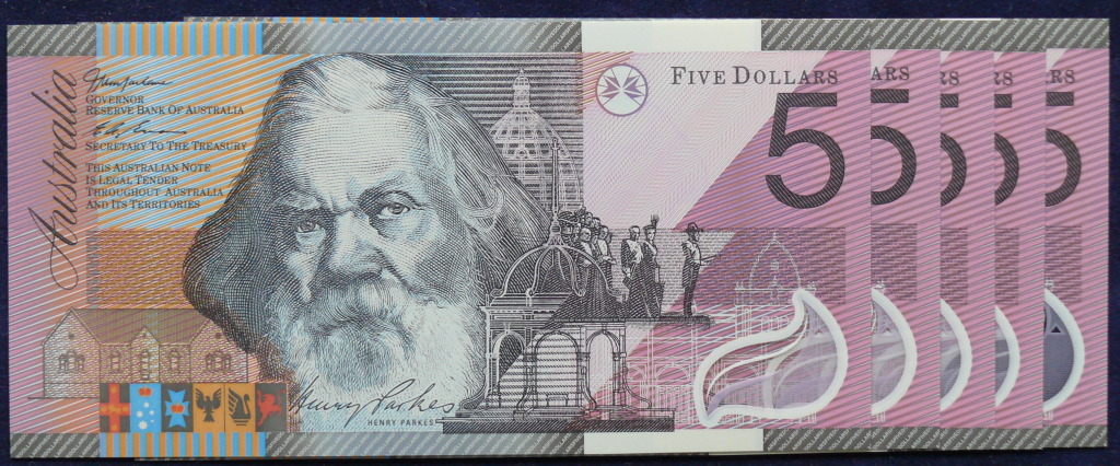 Henry Parkes on the Five Dollars banknote.