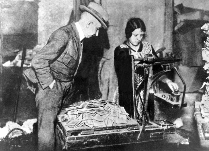 As the inflation was so rapid there was no time to count banknotes. Quicker by far to weigh them and get an approximate.
