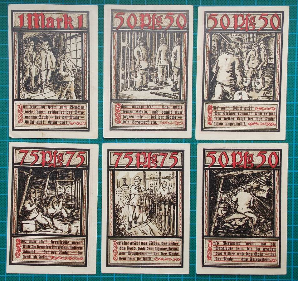 Another beautiful set of emergency banknotes issued in 1921 in the Bochum region.