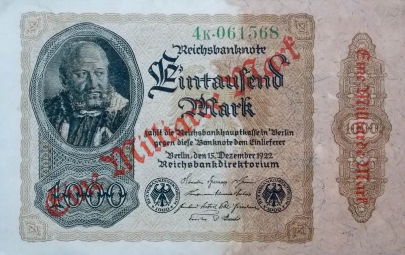A superb example of an economy in freefall as banknote were overstamped with ever larger amounts.