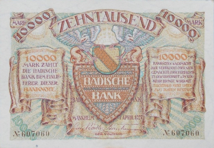 A typical example of note printed by the Badische Bank in 1923