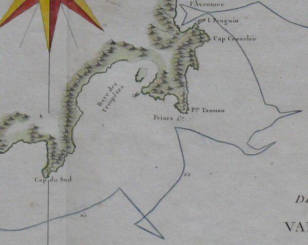 1777 Antique Map of Tasmania - Bonne