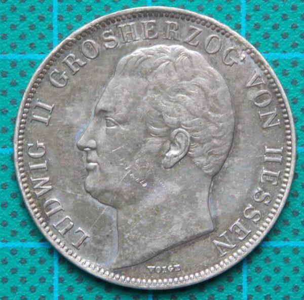 1842 Hessen Ludwig II Grossherzog Ein Gulden Silver Coin