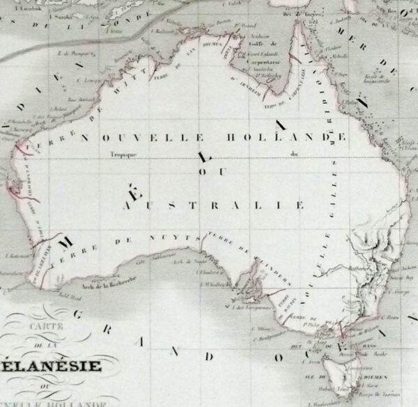 1845 Antique Map of Melanesia - Australia