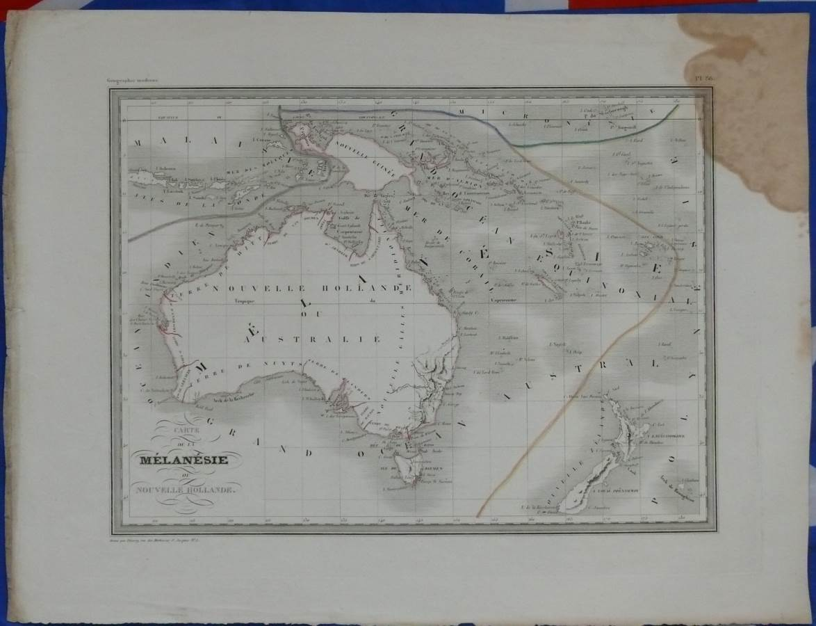 1845 Antique Map of Melanesia - Australia