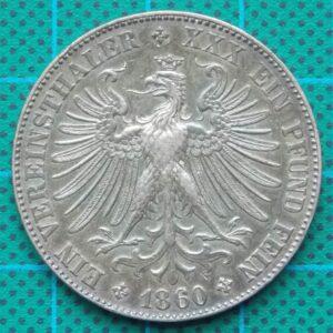 1860 FRANKFURT EIN VEREINSTHALER EIN PFUND FEIN