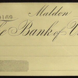 1860's - Rare Bank of Victoria Cheque - Maldon Victoria