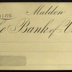 1860's - Rare Bank of Victoria Cheque - Maldon Victoria