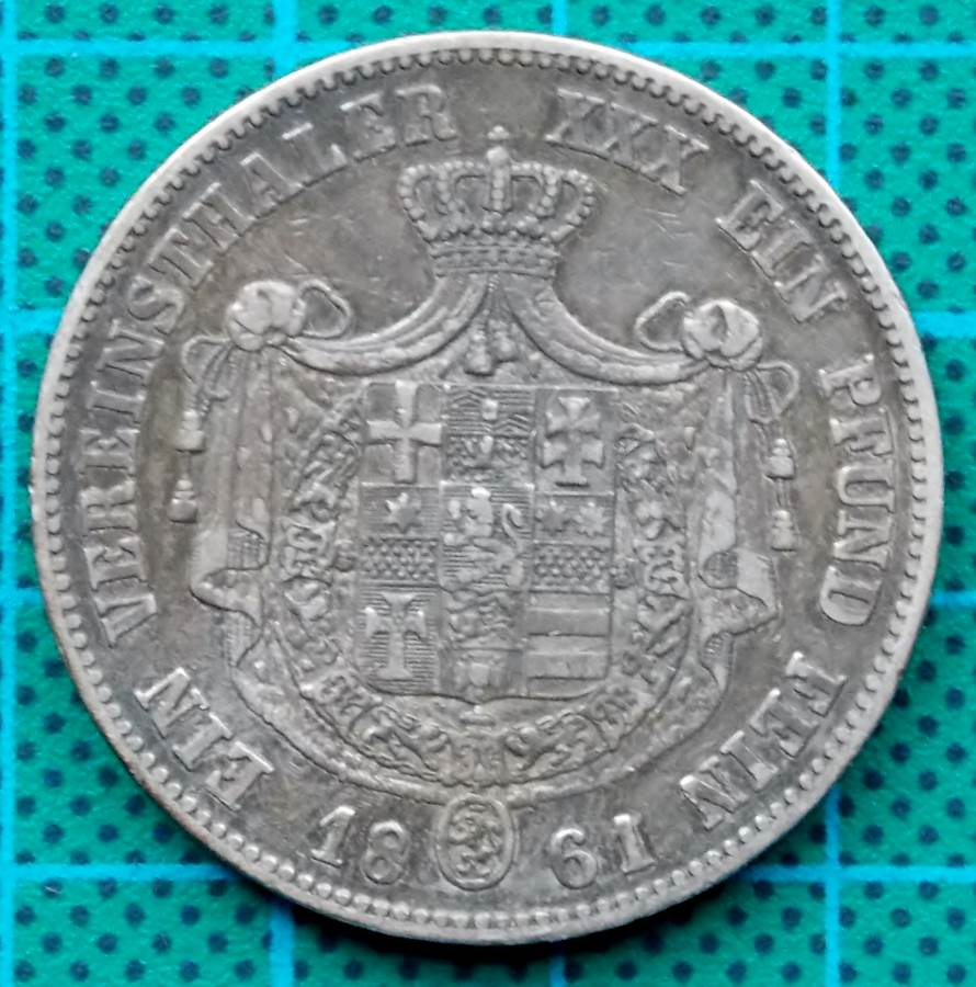 1861 HESSEN KASSEL ONE TALER FRIEDRICH WILHELM I