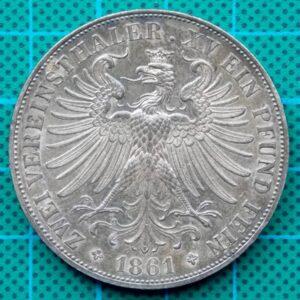 1861 FRANKFURT ZWEI VEREINSTHALER EIN PFUND FEIN