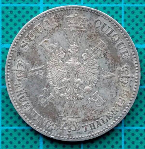 1861 KROENUNGS THALER WILHELM KOENIG AUGUSTA KING OF PRUSSIA