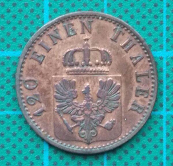 1868A BRANDENBURG PRUSSIAN SCHEIDE MUNZE 3 PFENNIGE