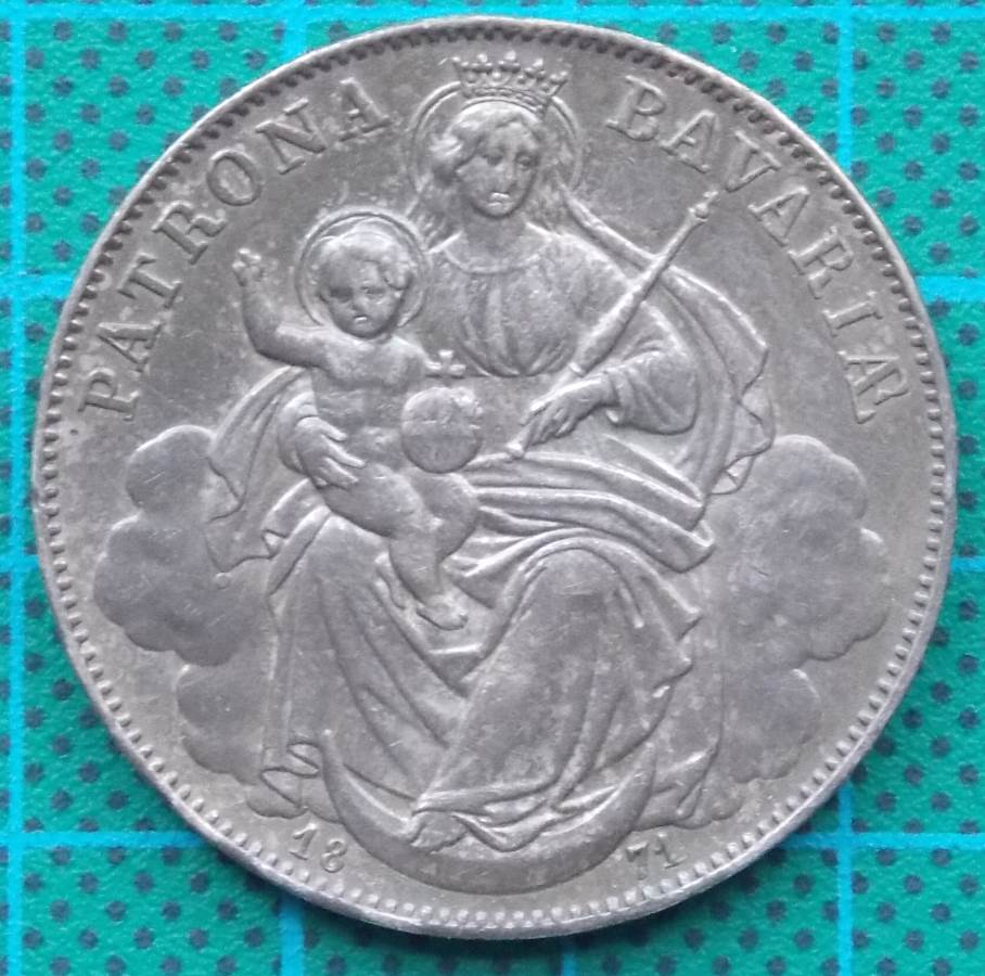 1871 PATRON BAVARIA LUDWIG II THALER