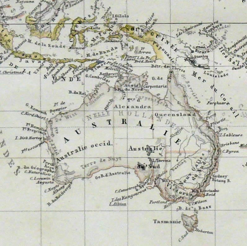 1880 Antique Map of Australia and Polynesia