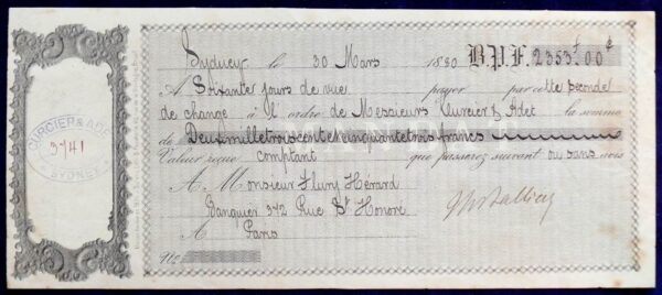 1880 - Very Rare - Letter of Exchange -1880