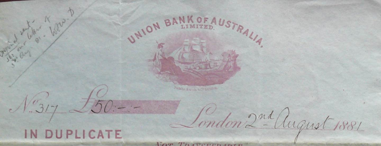 1881 Union Bank of Australia Ltd - Letter of Exchange