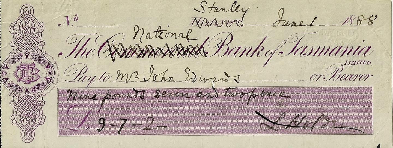 1888 Commercial Bank Of Tasmania Rare Bank Cheque