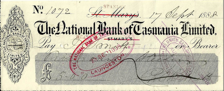 1888 National Bank Of Tasmania Rare Offering