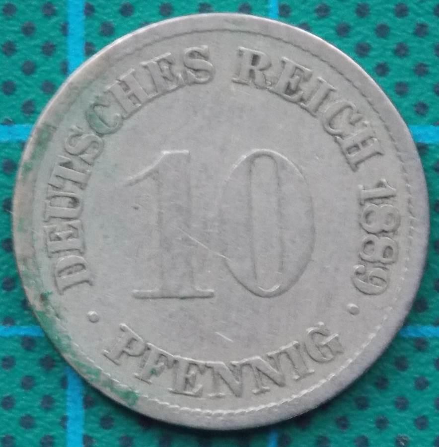 1889 DEUTSCHES REICH TEN PFENNIG COIN