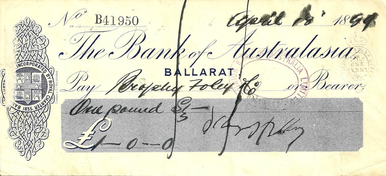 1889 - Rare Bank Of Australasia Cheque - Ballarat Victoria