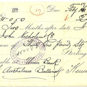 1889 Union Bank Cheque - Ballarat Victoria