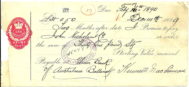 1889 Union Bank Cheque - Ballarat Victoria