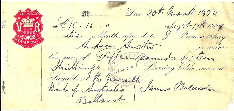 1890 Union Bank of Australia Cheque - Ballarat Victoria