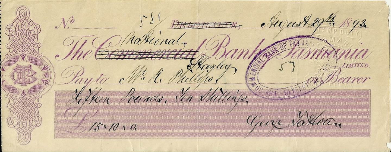 1893 National Bank Of Tasmania Bank Cheque