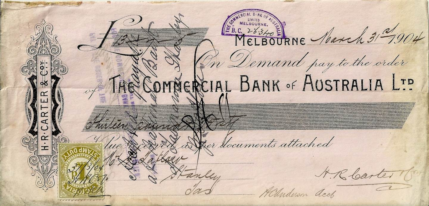 1904 Commercial Bank of Australia Cheque