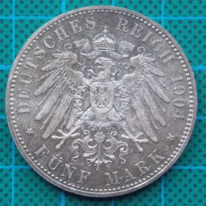 1904 DEUTSCHES KAISERREICH 5 MARK SILVER COIN