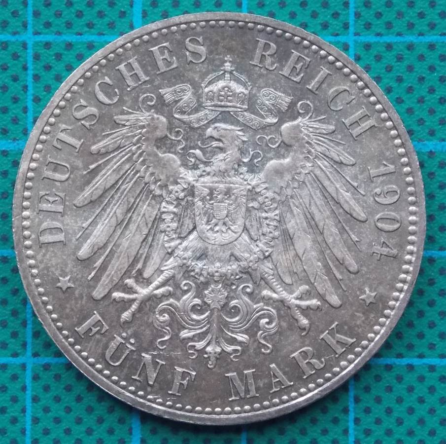 1904 DEUTSCHES KAISERREICH 5 MARK SILVER COIN
