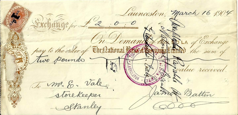 1904 National Bank of Tasmania Cheque
