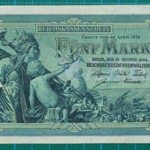 1904 REICHSKASSENSCHEIN FUNF MARK