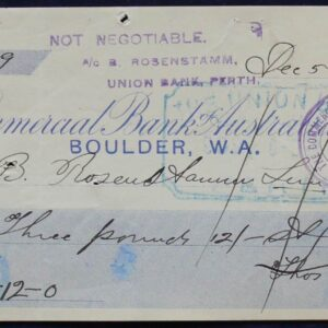 1906 Rare Bank Cheque - Boulder, Western Australia